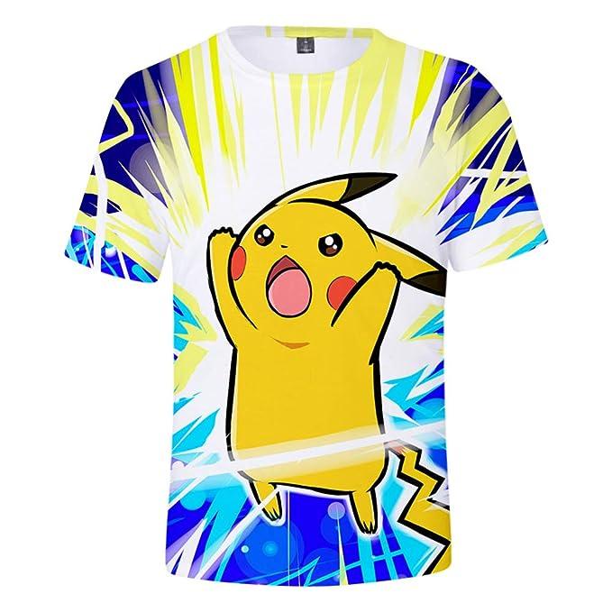 Pokemon Casual Manga Corta 3D Impresión Digita Camiseta Ocio Tops Traje Deportivo Summer Beach Tees