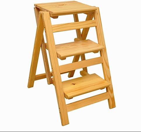 SH-Chairs Escalera de Madera sólida Multifuncional del hogar Escalera Plegable de Tres Pasos Escalera de Madera pequeña portátil 42 * 52 * 66CM (Color : C): Amazon.es: Hogar