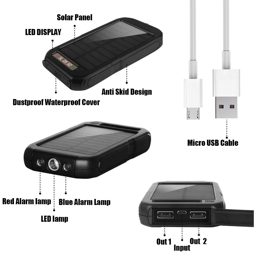 Xnuoyo Power Bank 10000mAh Waterproof Solar Charger with Dual USB Ports External Portable Charger Battery Pack for iPhone, iPad, Samsung, Nexus and Other Smartphones by Xnuoyo (Image #3)