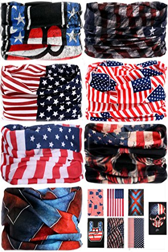 7 PCS Headwear Bandana Headband - Wrap Scarf UV Versatile Facemask Lightweight Sports & Casual for Outdoor Climbing Camping Hiking (7pcs-Set-American Flag)
