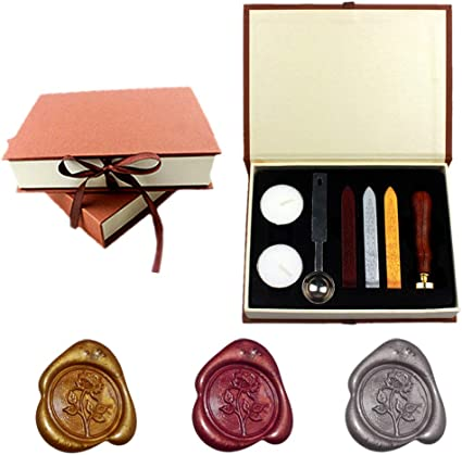 Vintage Seal Wax Kit Sigillo Ceralacca Stick di Cera with Gift Box Yuccer Timbro Ceralacca B Rose