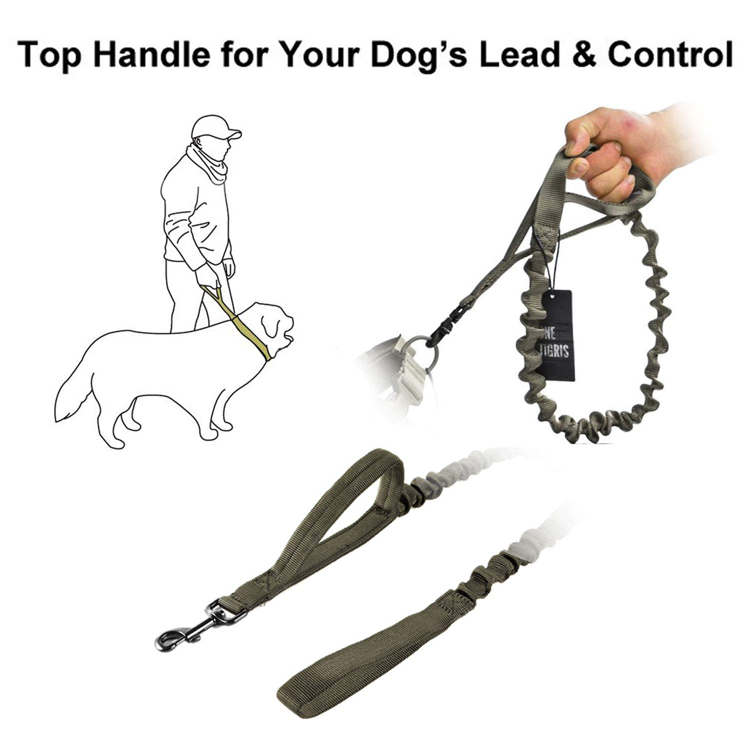 OneTigris Tactical Dog Training Bungee Leash with Control Handle Quick Release Nylon Leads Rope 2019 Advanced Version