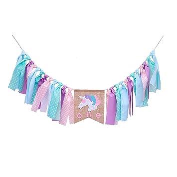 LUOEM Unicornio 1st Birthday Banner Cumpleaños de los Niños ...
