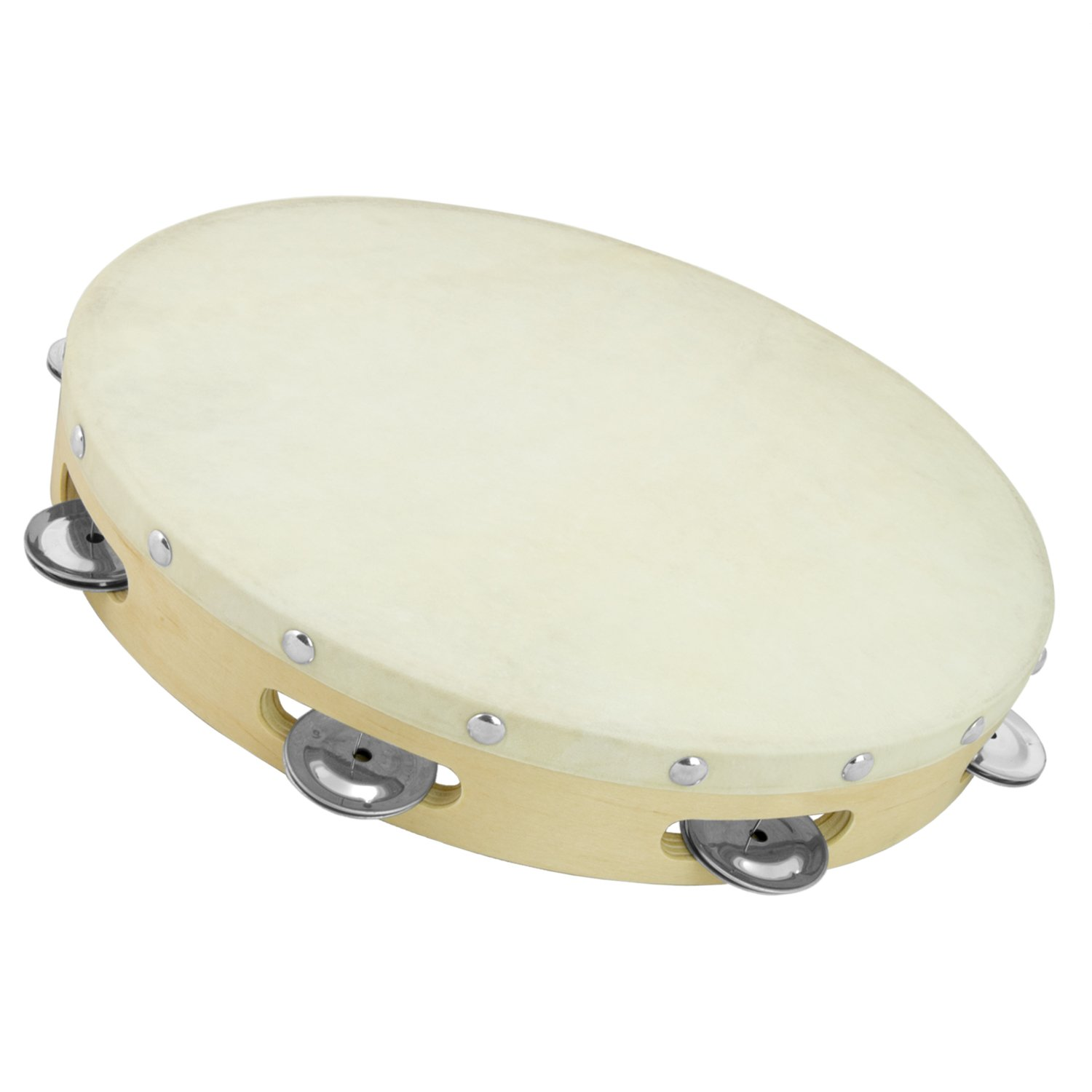 Tiger 12 inch Single Row Wood Tambourine by Tiger Music