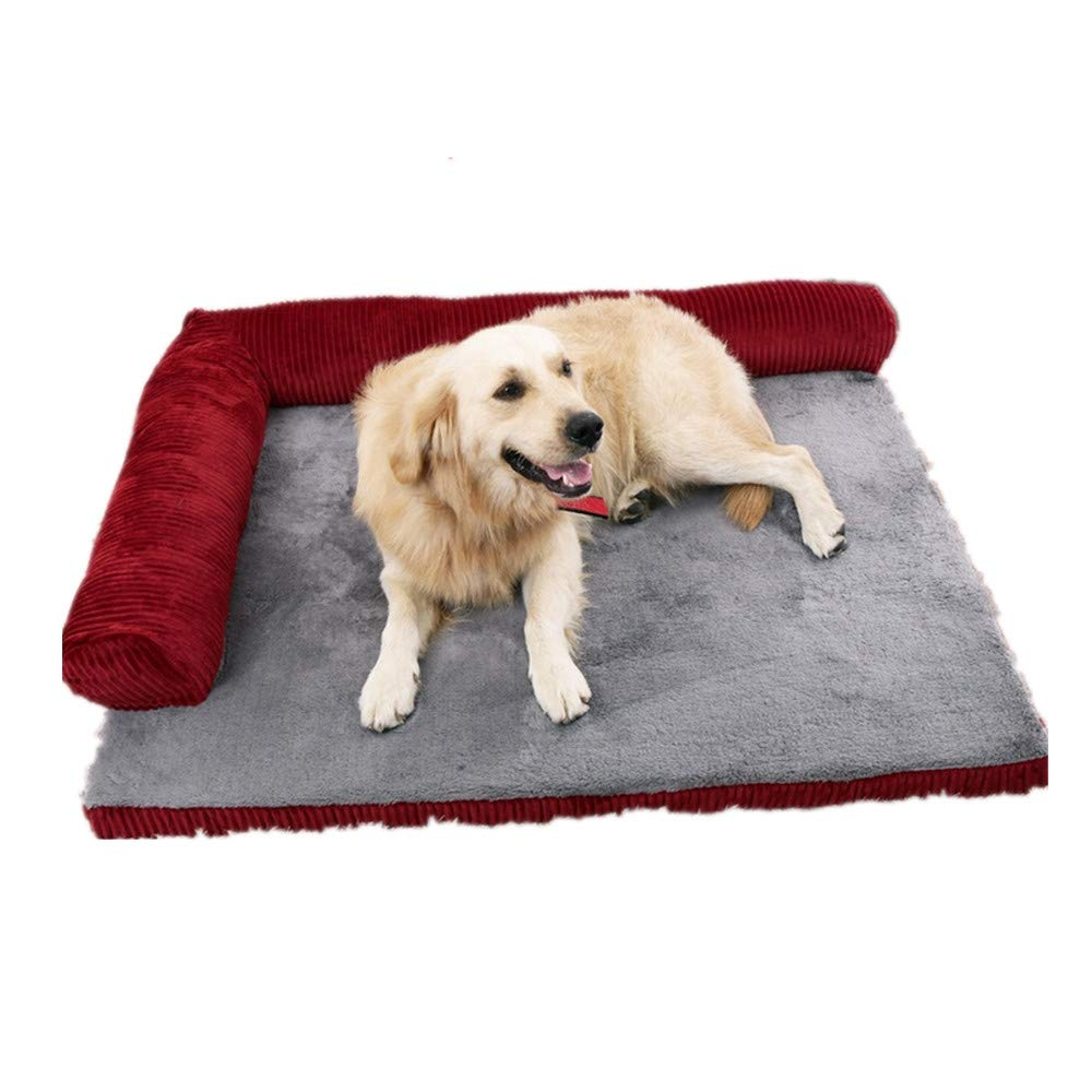 70x55x15cm Mzdpp Corduroy Pet Bed Detachable And Washable Soft Predection Neck Cat And Dog Red Small-X Large 70  55  15Cm