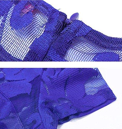 Vestido De Cóctel De Manga Corta Plisada Hueca Sexy De Primavera Y Verano De Las Mujeres Del Verano Vestido De Cóctel De Noche De Una Línea De Cuello Redondo (4 Colores),Blue-S