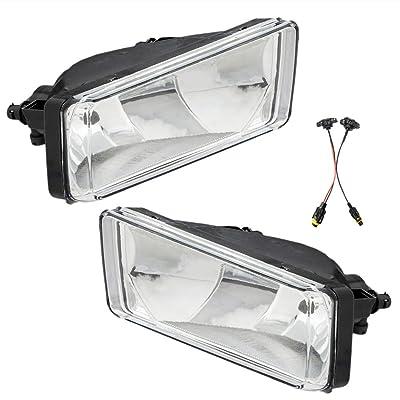 Fog Lights 12V 35W H8 Halogen Lamp Bulb Fit for 2007-2014 Chevrolet Silverado 2500HD 3500HD Clear Lens: Automotive