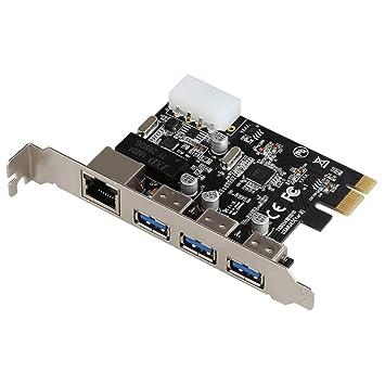 JMT PCI-E a Externo 3 Puertos 5 Gbps USB 3.0 HUB+RJ-45 ...
