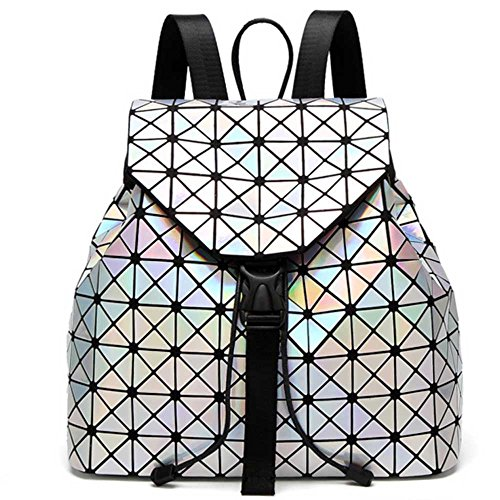DIOMO Geometric Lingge Laser Women Backpack Travel Shoulder Bag(Laser) by DIOMO (Image #5)'