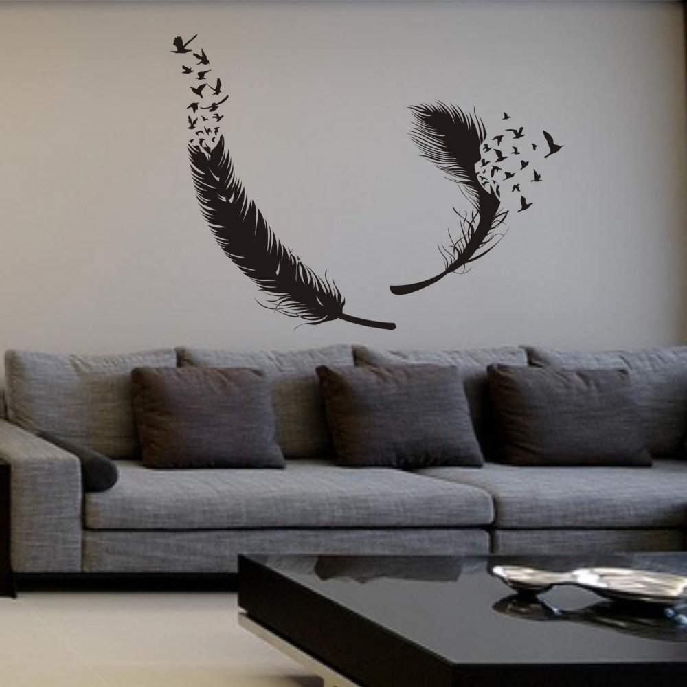 Amazon mairgwall birds of a feather wall decal feather wall amazon mairgwall birds of a feather wall decal feather wall decals vinyl feather decor feather of bird wall art sticker home wall decor black home amipublicfo Gallery