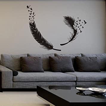 Amazoncom MairGwall Birds Of A Feather Wall Decal Feather Wall - Wall decals birds