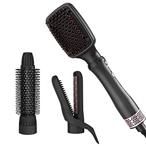Hair Dryer Brush, Abody 4 IN 1 One Step Interchangeable Ceramic Hot Hair Brush, Frizz Free Negative Ion Hair Dryer and Volumizer for Hair Drying,Curling,Straightening,and Hair Volume Blow Dryer Brush