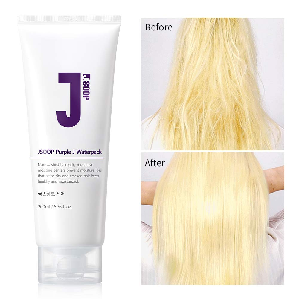 JSOOP Purple J Waterpack 200ml 6.76 Ounce Hair protector from high heat styling tools, Thermal shield, Iron guards, Prevent damage, breakage and split ends, Hair detangler, Hair treatment