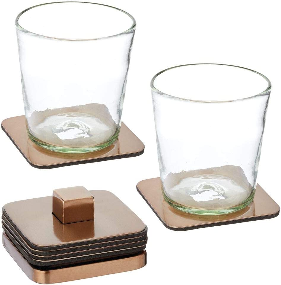 mDesign Stainless Steel Square Coaster Set with Holder for Dry Bar, Table, End Table, Kitchen, Living Room, Set of 6 - Bronze