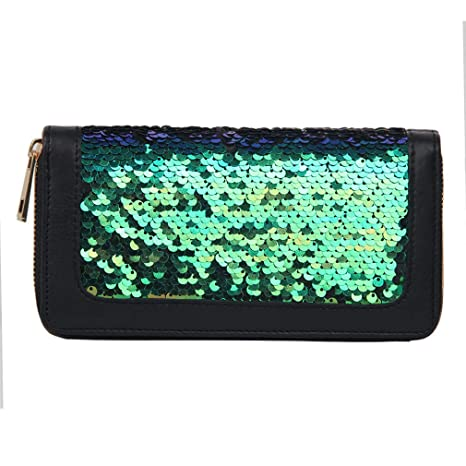 d33be5bc5b23 Amazon.com: JNCLEO Sequins Women Long Wallet Pu Leather Zipper ...