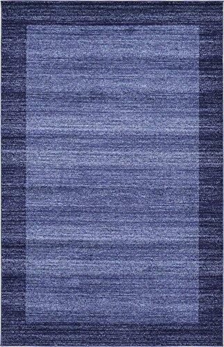 Unique Loom Del Mar Collection Contemporary Transitional Navy Blue Area Rug (5' 0 x 8' 0)