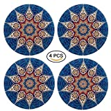 """Ceramic Coasters Absorbent -4 Pack Large 4.0"""" Size Stone Coaster With Cork Back, Bohemia Style-Prevent Furniture from Dirty and Scratched(Blue)."""