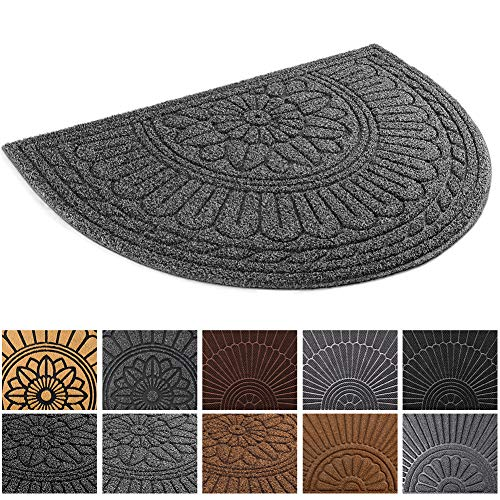 Mibao Half Round Entrance Door Mat, 24 x 36 inch Winter Durable Large Heavy Duty Front Outdoor Rug, Non-Slip Welcome Doormat for Entry, Patio (Office Door Mat)