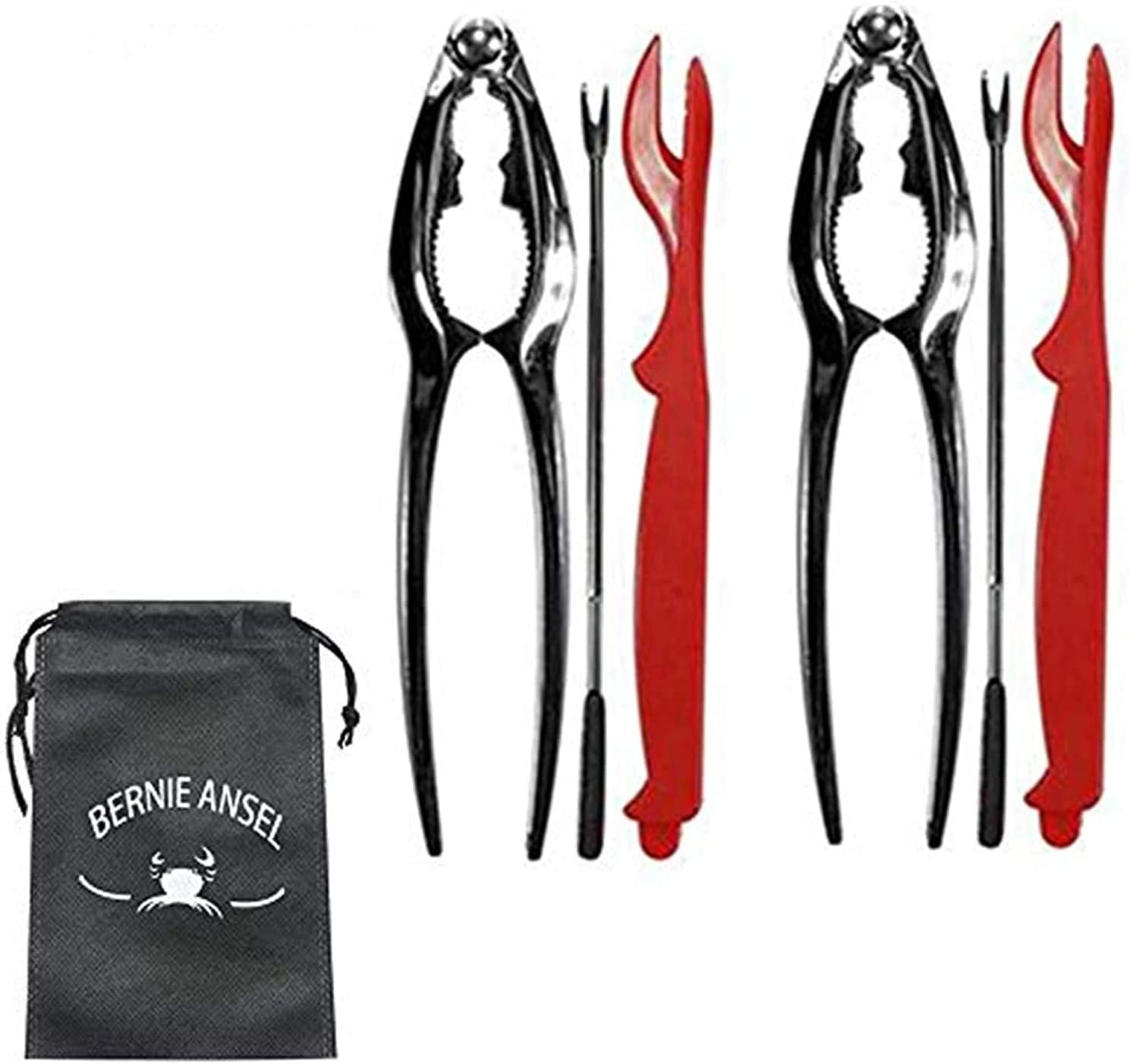 Crab Claw Crackers and Tools Set, Seafood Tools Set Crab Leg Crackers and Picks Tools Including 2 Lobster Shell Crackers and 6 Seafood Forks Kit