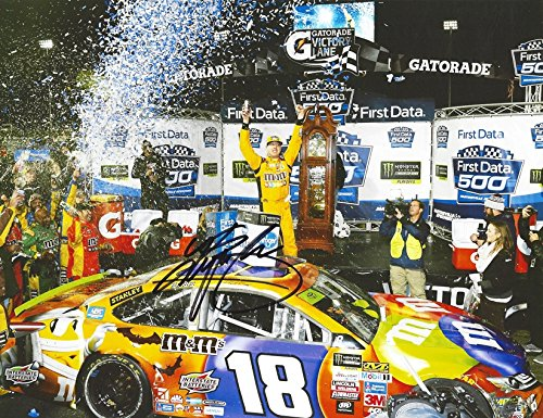 AUTOGRAPHED 2017 Kyle Busch #18 M&Ms Halloween MARTINSVILLE RACE WIN (Victory Lane Celebration) Monster Energy Cup Series Signed Collectible Picture NASCAR 9X11 Inch Glossy Photo with COA]()