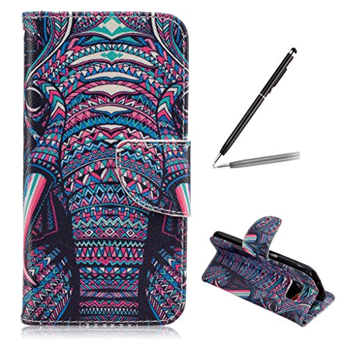 Trumpshop Smartphone Carcasa Funda Protección para Samsung Galaxy S7 edge + Dont Touch My Phone + PU Cuero Caja Protector con la Ranura la Tarjeta Choque Absorción El elefante colorido