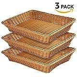 15.7'' Poly-Wicker Bread Basket-YOLOGOSUN Woven Tabletop Food Fruit Vegetables Serving Basket, Restaurant Serving,Brown (3 PACK)