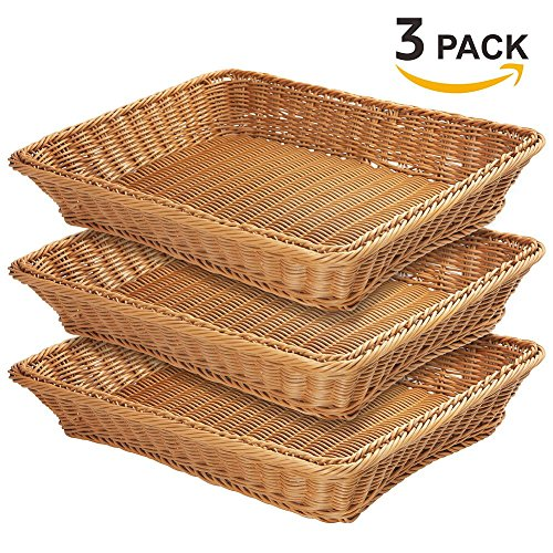 15.7'' Poly-Wicker Bread Basket-YOLOGOSUN Woven Tabletop Food Fruit Vegetables Serving Basket, Restaurant Serving,Brown (3 PACK) by YOLOGOSUN (Image #7)