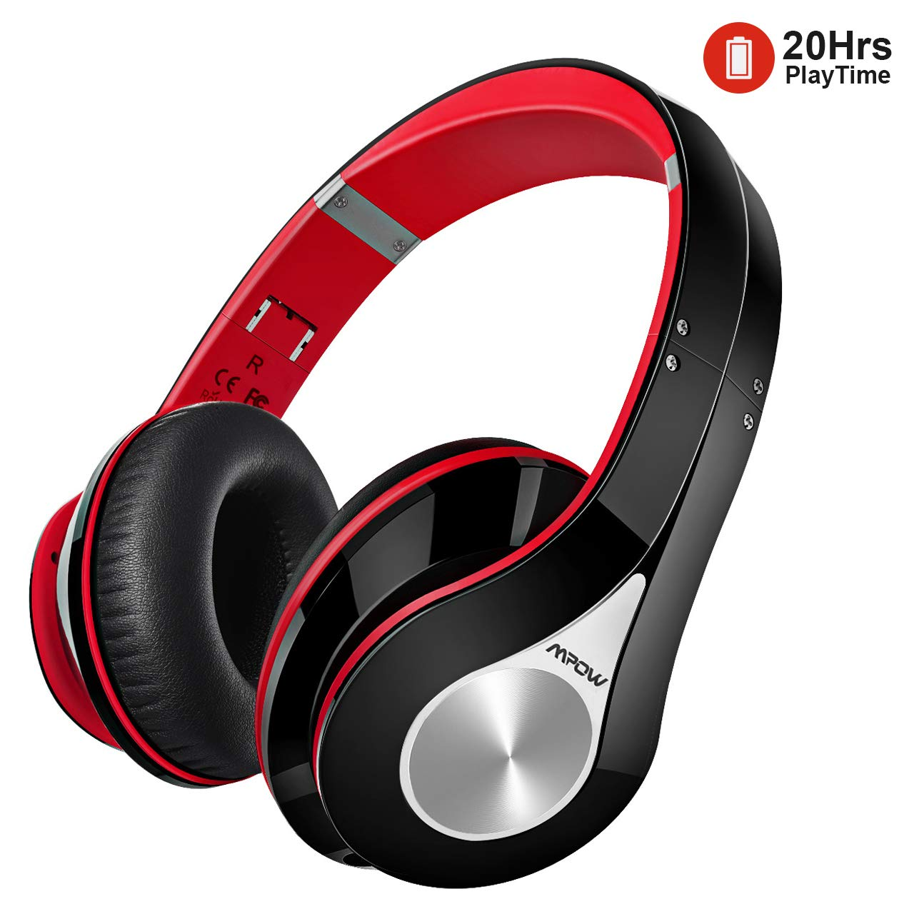 97a0e522d43 Bluetooth Headphones, [Up to 20 Hrs] Mpow Wireless Over-Ear Foldable Hi-Fi  Stereo Headset, Snug Earmuffs, Built-In Noise Cancelling Microphone for ...