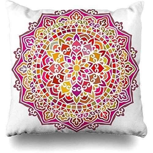 ircle Pattern Multicolor Ethnic Oriental Abstract Petal Henna Moroccan India Swirl Arabic Design Cushion Case Home Decor Square Size 18 x 18 Inches Design Pillowcase ()