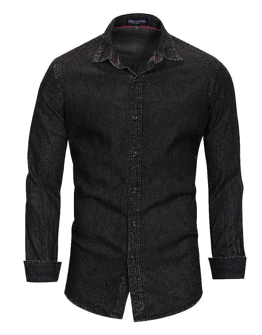 Qiangjinjiu Mens Button Down Long Sleeve Shirt Casual Slim Fit Denim Shirt Dress Shirt