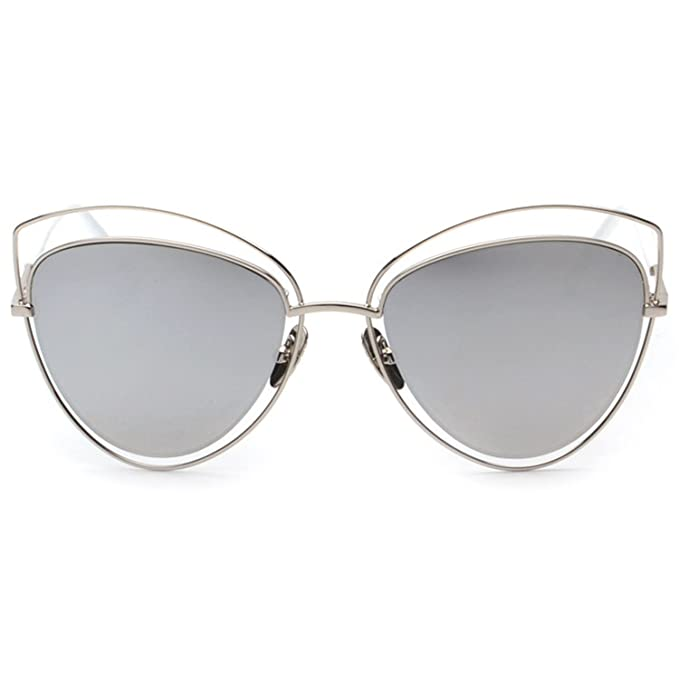 fbefa68b88 SojoS Women s Double Wire Double Rimmed UV400 Cat Eye Sunglasses SJ1047  With Silver Frame Silver