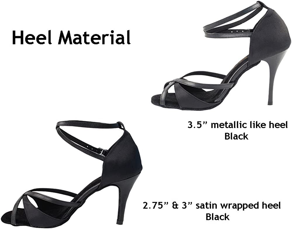 Bundle of 5 Womens Ballroom Dance Shoes Tango Wedding Party Salsa Dance Shoes Black Satin /& Black Trim 2829LEDSSEB Comfortable Very Fine 3 Heel 7 M US