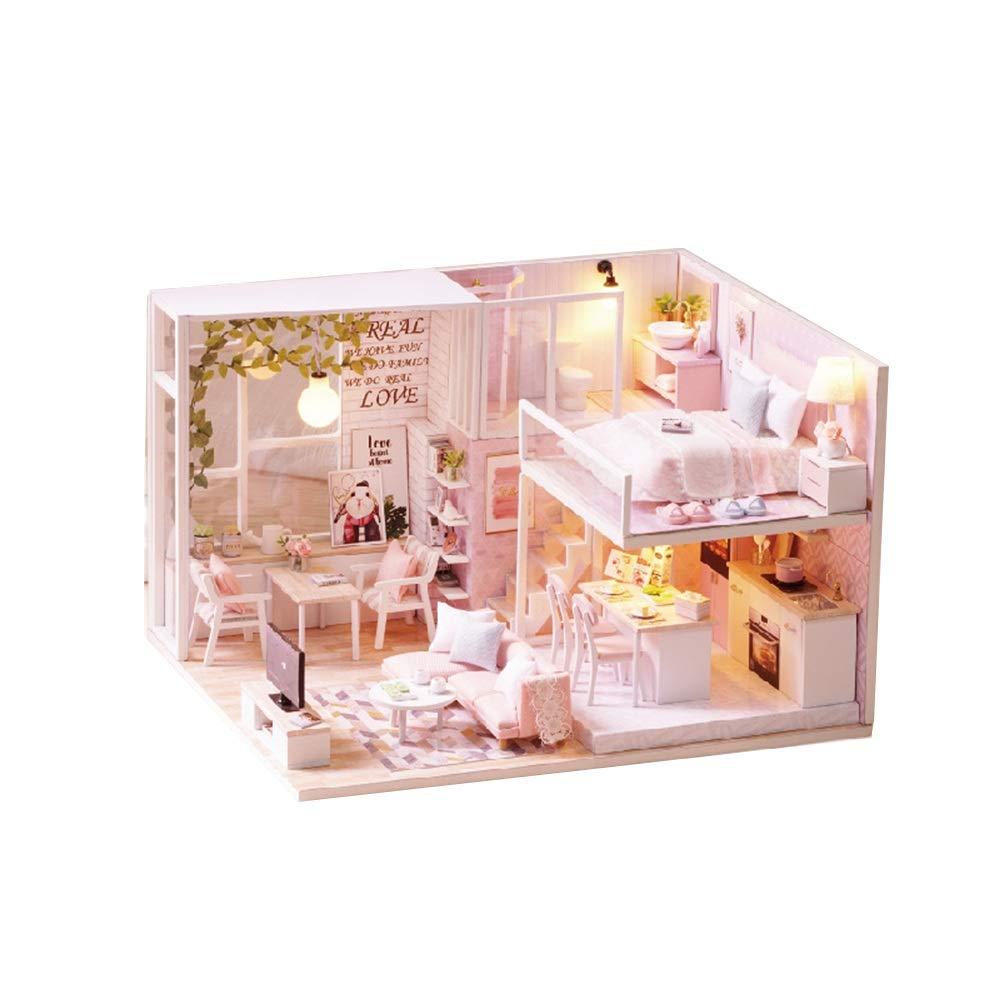 Giocattoli per lo sviluppo dell'apprendimento prec Puzzle 3D fatti a mano in miniatura casa delle bambole fai da te  cabina vivente tranquilla  case delle bambole accessori per bambole case con mobili