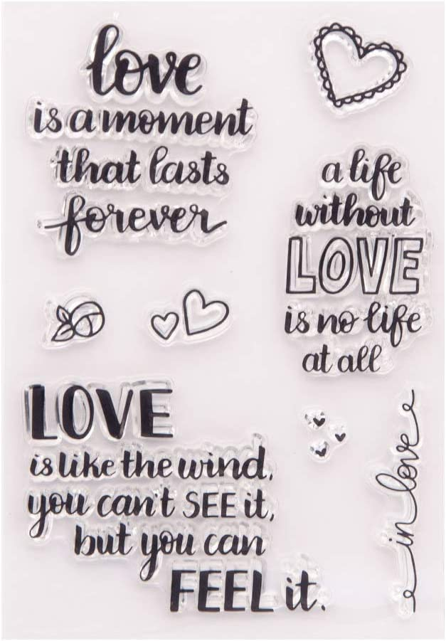 Love Sentiment Verses Valentine's Day Hearts Feel Love Rubber Stamps Clear Stamps for Card Making Decoration and DIY Scrapbooking Rubber Stamps for Crafts