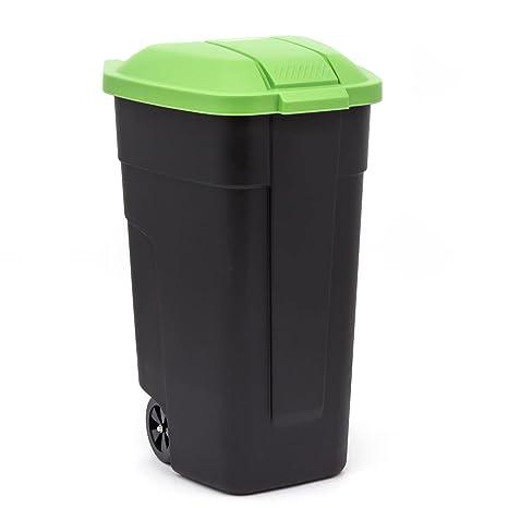 curver - Contenedor de Basura con Ruedas Cubo de Basura Color Negro/Verde 110 Litros