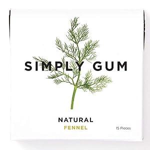 Simply Gum | natürlicher Kaugummi | Fenchel | Vegan + Non GMO | 15 Stück x 6 Packungen