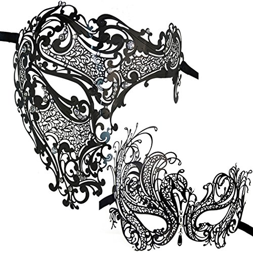 Amazing Couple Costumes (Couple Masquerade Metal Masks Venetian Phantom Of the Opera Laser Cut Mask (Black 1))