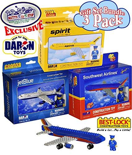 "Daron Best Lock JetBlue (55pcs), Spirit (62pcs) & Southwest (62pcs) Construction Airplane Kits ""Matty"