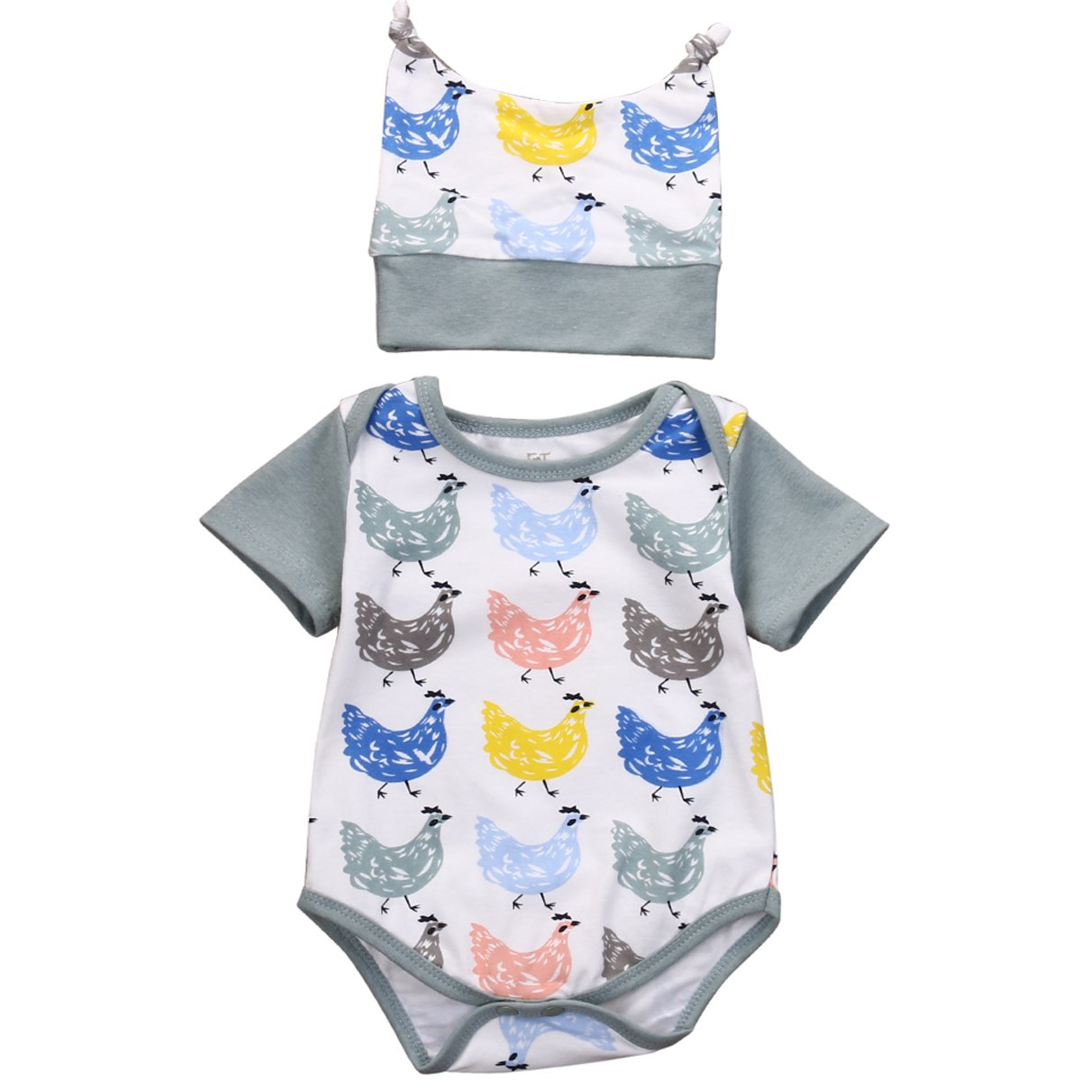 Baby Boys Girls Colorful Chickens Romper Short Sleeve Bodysuit with Hat