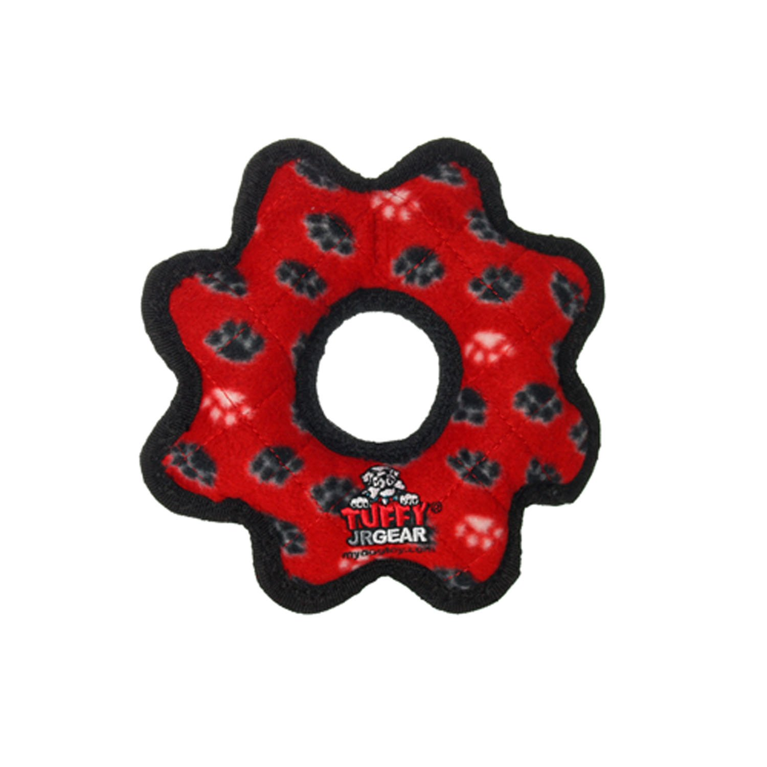 Red Tuffy Gear Ring Dog Toy Paws, Red