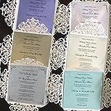 Picky Bride Laser Cut Wedding Invitations Elegant Customized Invitations with your Invite Wording - Set of 50 (Purple Inserts)
