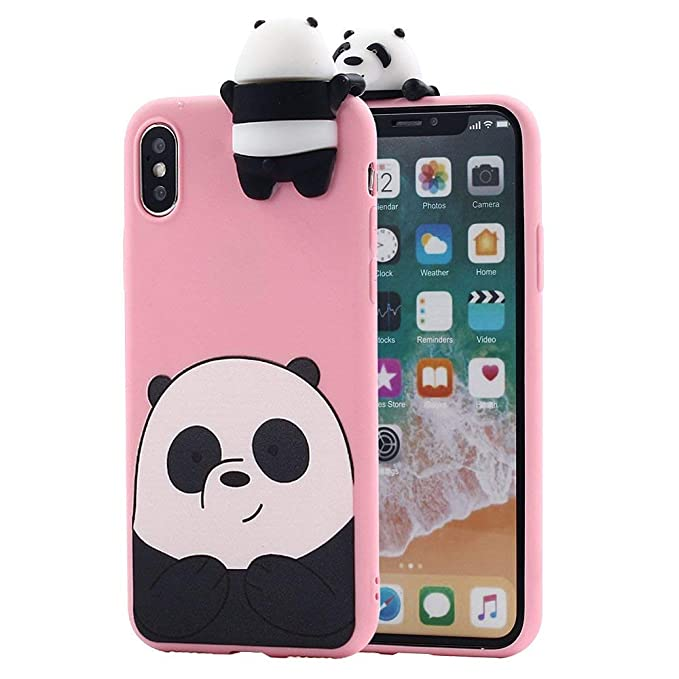 Amazon.com: iPhone Xs Max Case for Girls Women, Awsaccy(TM) Girly 3D Cartoon Panda Animals So Cute Lovely We Bare Bears Grizzly Soft Silicone Case Cover for ...