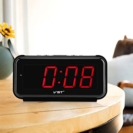 Haofy 220V LED Digital Alarma Despertadores electrónicos Radio Reloj Repeticion con Pantalla Grante(Rojo)