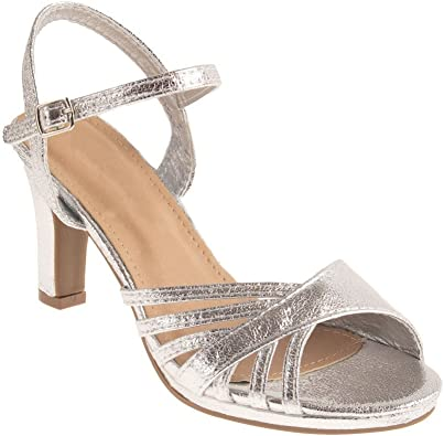 Chaussure Mariage Femme Sandale argentée & Strass Diamant Talon Bas 7cm à Bout Ouvert Bride Cheville