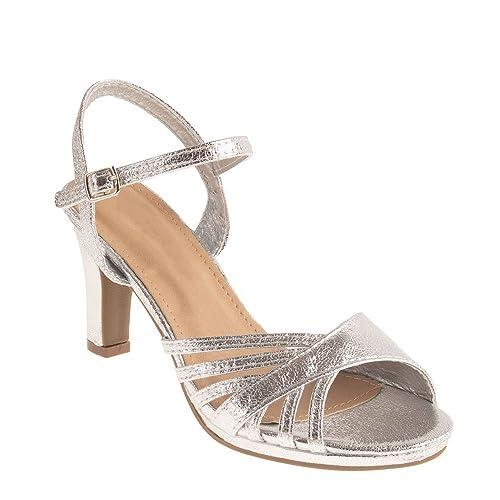 grossiste 270a9 c09c5 Chaussures Mariage Femme argentées Forme Sandales Brillantes à Petit Talon  7 cm épais & Bout Ouvert-