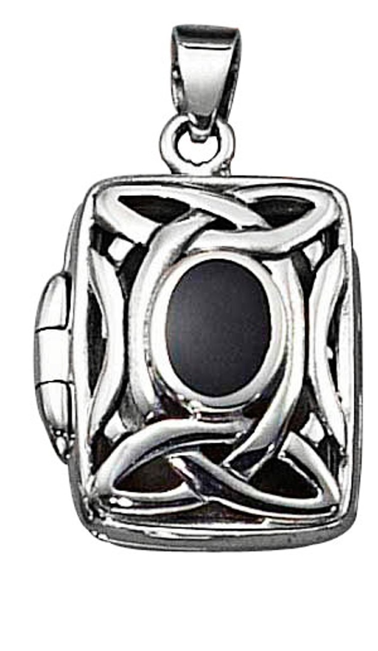 Sterling Silver Womens 24'' 1mm Box Chain Celtic Locket Pendant Necklace Black Onyx