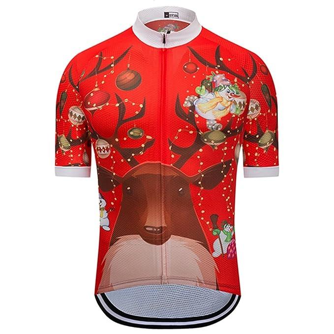 5961387d5 Weimostar Summer Women Men Cycling Jersey Short Sleeve Bike Shirts Tops  Snowman and Christmas Reindeer Bicycle