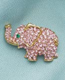 Pink Elephant Crystal Pin
