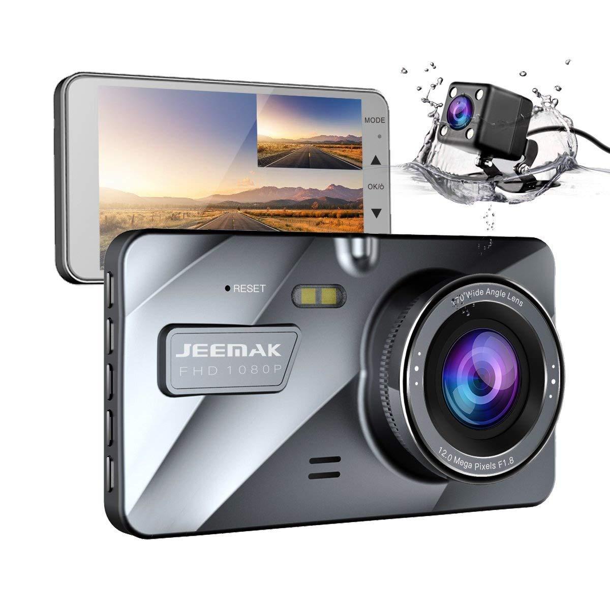 Dual Lens Auto Dash Cam, JEEMAK 4 'IPS Dashcam FHD 1080P Dashboard kamera 170 Grad Weitwinkel im Auto Fahrzeug DVR Recorder mit G-Sensor Parkplatz Monitor WDR Loop Recording Nachtsicht fahren CE24