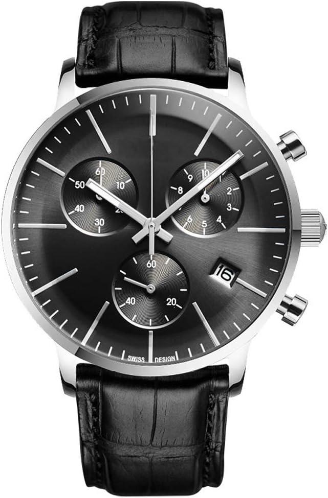 メンズ腕時計ファッション高級時計防水スポーツアナログクォーツ時計カジュアルスポーツクロノグラフ,黒 黒